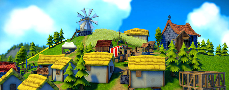 A medieval village on a hillside from the game, Foundation - Writing by GamerZakh