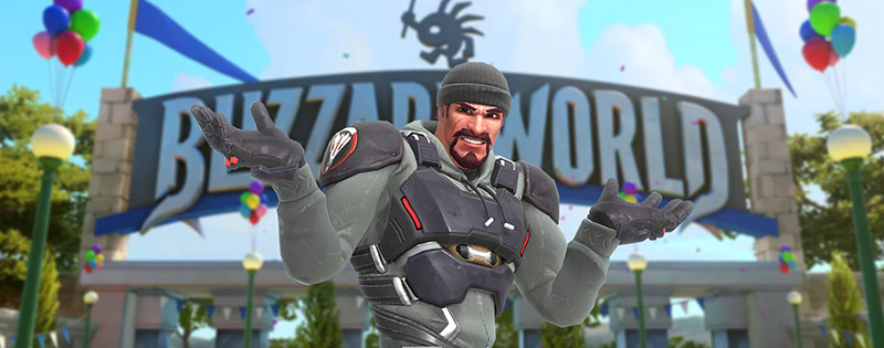 Reaper from Overwatch shrugging in front of the Blizzard World sign - Writing by GamerZakh