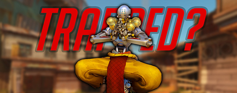 An image of Zenyatta from Overwatch, who floats, confusingly trapped in a Junkrat bear trap - Writing by GamerZakh