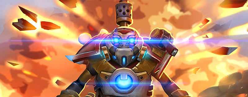 Clockwerk from Dota 2 in front of explosions - Writing by GamerZakh