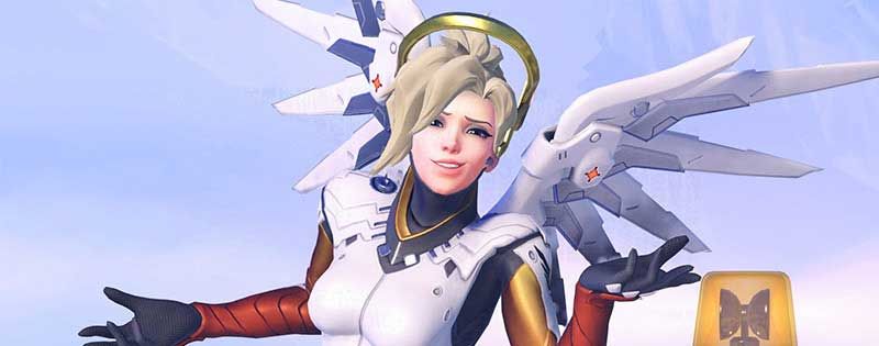 Mercy from Overwatch with a quizzical expression - Writing by GamerZakh
