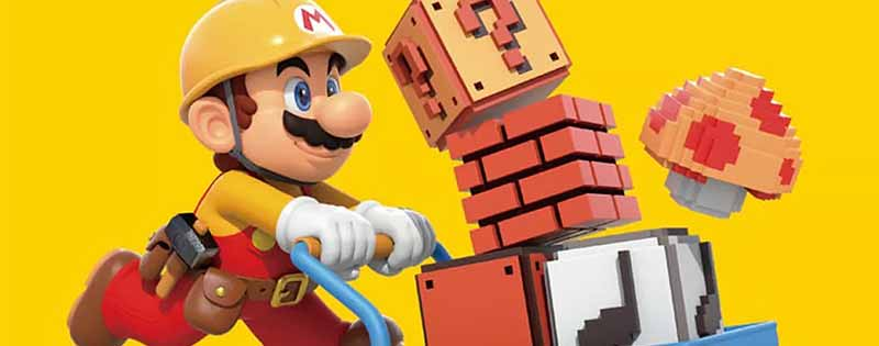 Mario carrying things for construction on a bright yellow background from the game Mario Maker 2 - Writing by GamerZakh