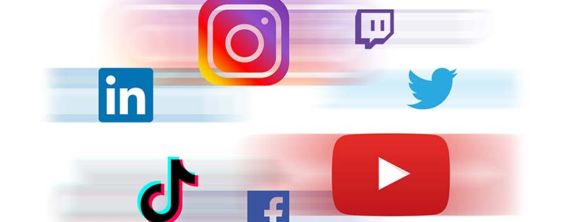 A number of social media platform icons moving quickly - Writing by GamerZakh