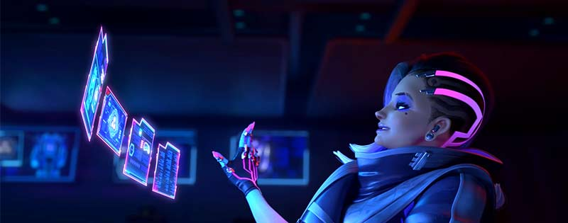 Sombra from the game Overwatch watching multiple screens - Writing by GamerZakh