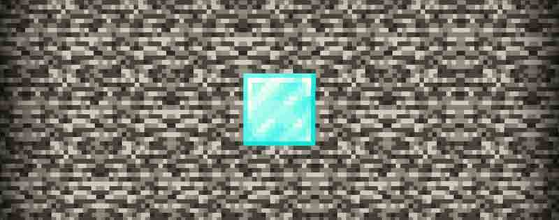A diamond block in Minecraft surrounded by bedrock - Writing by GamerZakh