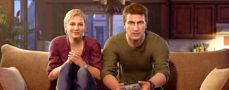 A married couple from the video game Uncharted hanging out while gaming - Writing by GamerZakh