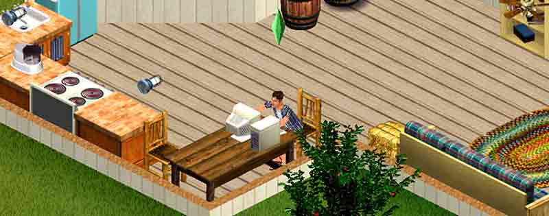 A character from The Sims 1 sitting at home on the computer - Writing by GamerZakh